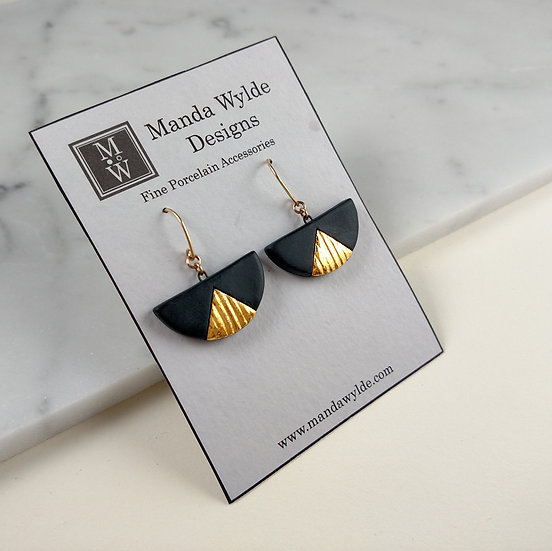 Black and Gold Textured Chandelier Large Dangle Earrings