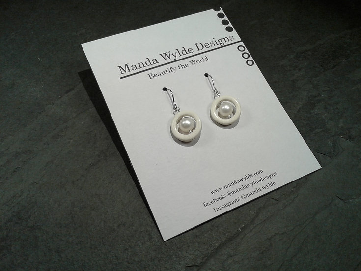 Timeless Elegance Single White with White Pearl Earrings