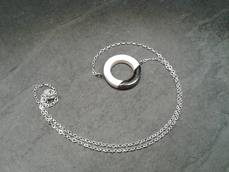 White and Platinum Lustre Ring Pendant on Sterling Chain