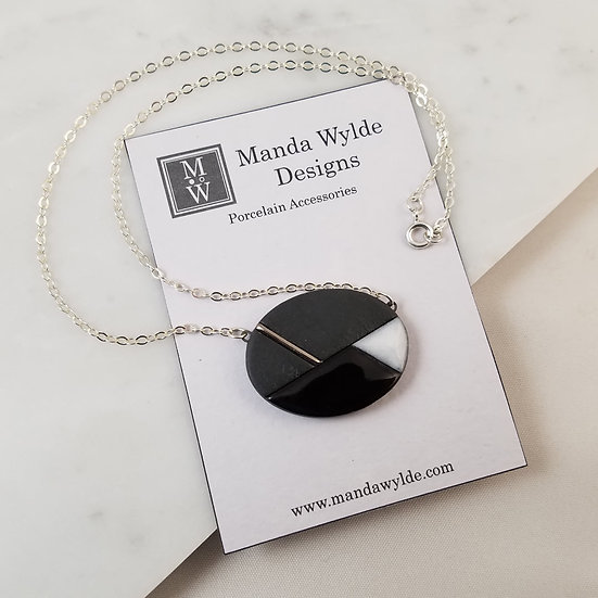 Moderna Necklace in Black and Platinum on Sterling