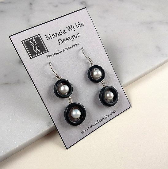 Timeless Elegance Double Pearl Earrings in Black