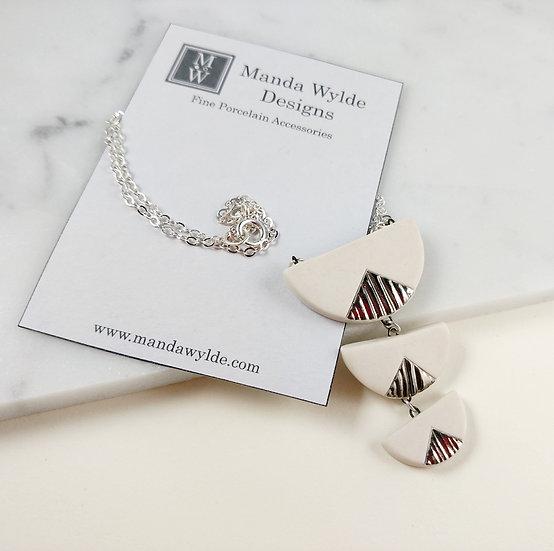 White and Platinum Textured Chandelier Statement Necklace