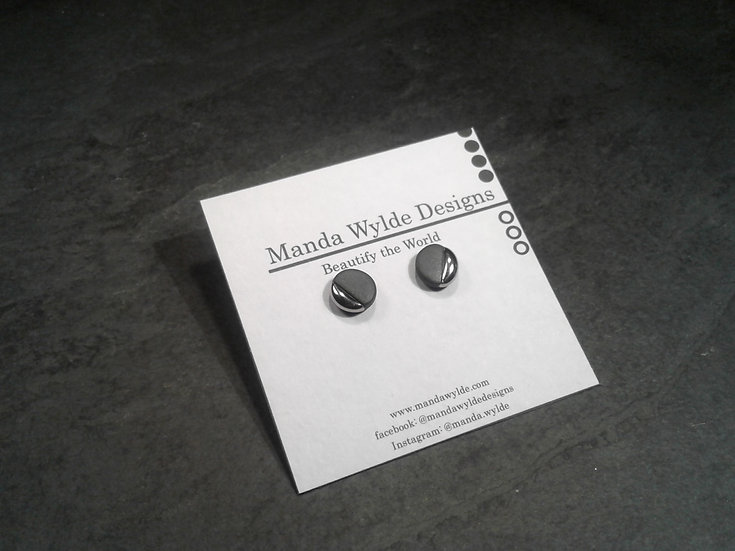 Black and Platinum Lustre Studs