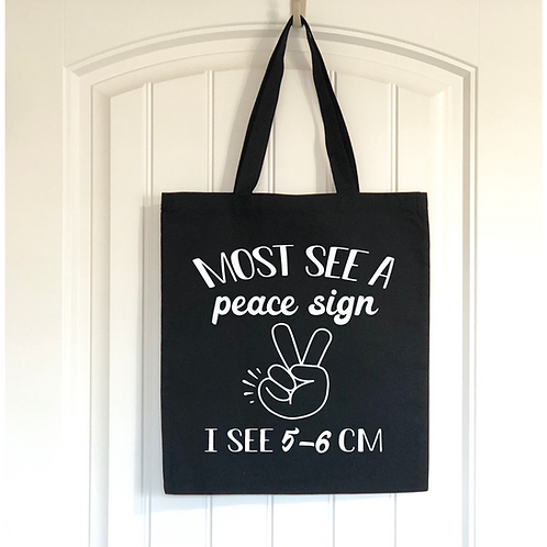 Most see a Peace Sign tote