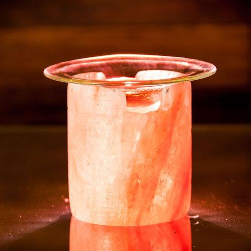 Salzkristall Teelicht Aromalampe mit Glasplatte