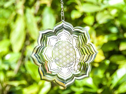Blume des Lebens Lotus Mobile, Ø 15 cm aus Edelstahl