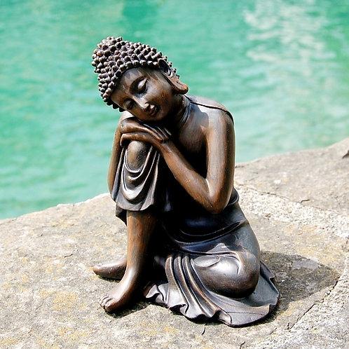 Schlafender Thailändischer Buddha, Holzoptik, 14cm
