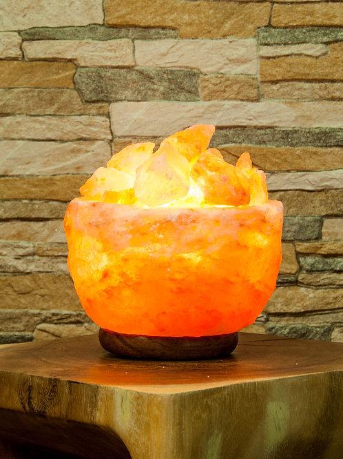 Salz-Atmosphären Lampe mit Holzsockel