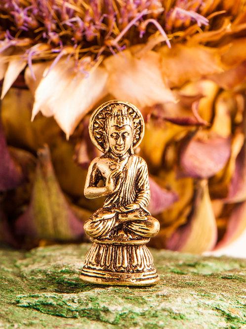Segnender Buddha, Miniaturfigur, Messing