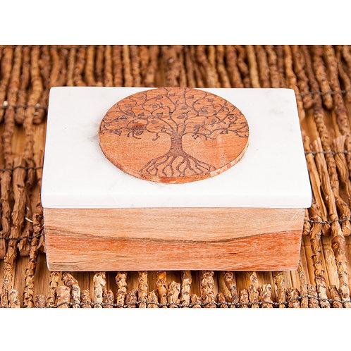 Kartenbox aus Marmor, Lebensbaum