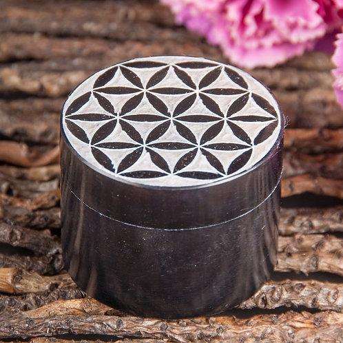 Blume des Lebens Döschen, schwarz, Speckstein