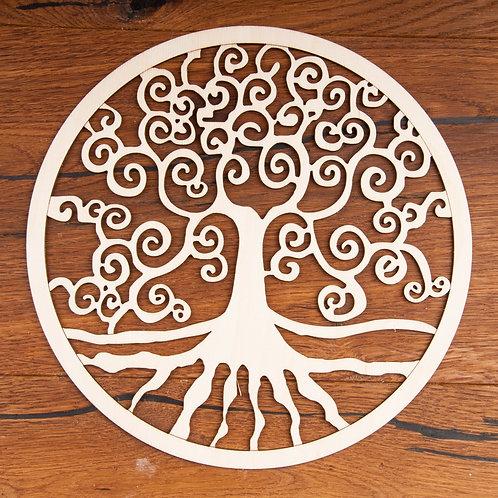 Yggdrasil aus Holz, 24 cm