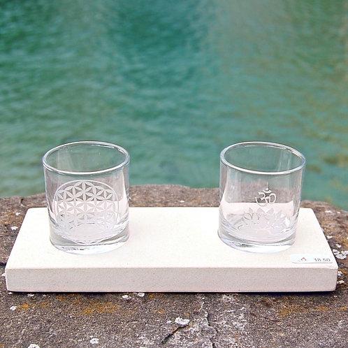 """Teelicht """"Lotus OM"""" Glas graviert, 15x8x8"""