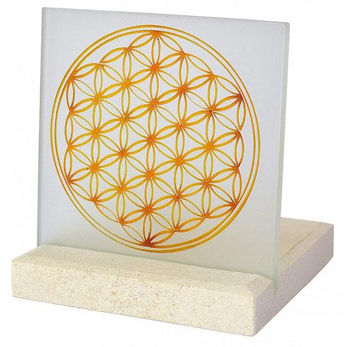 """Licht Objekt, """"Blume des Lebens"""", Glas/Stein, 10x13cm"""