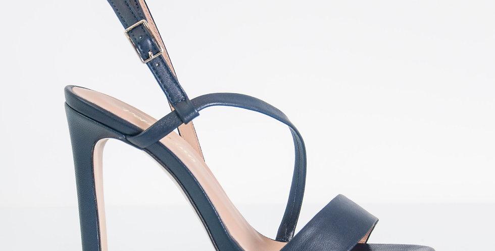 Sandalo Donna con tacco in pelle blu
