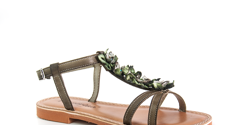 sandalo donna fiori militare