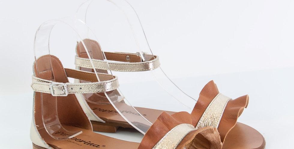 Sandalo basso da donna cuoio e platino