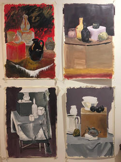 12 Still-life studies drawn and painted