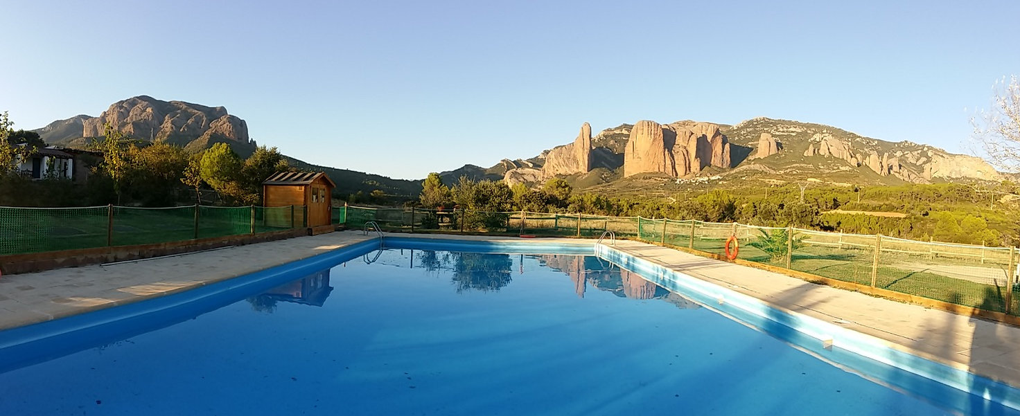 panoramic summer pool in Camping Armalygal. Only for residents.