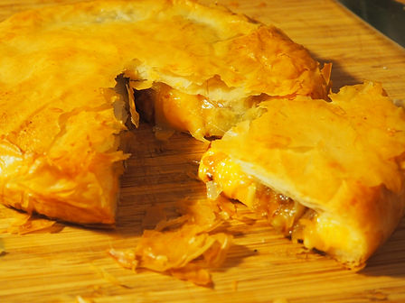 Simon Majumdar's Four Cheese Pie with Confit Garlic and Caramelized Onions Recipe