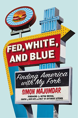 """""""Fed, White, and Blue"""" by Simon Majumdar book cover with 50s diner style sign"""