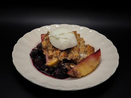 Mixed Berry & Peach Crumble by Simon Majumdar