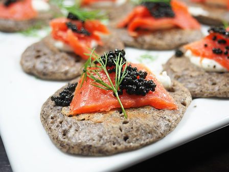 Smoked Salmon Buckwheat Blini with Smoked Salmon and topped with dill and caviar by Simon Majumdar