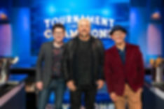 Host Guy Fieri and co-floor reporters Justin Warner a