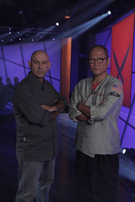 Simon Majumdar and Masaharu Morimoto on Iron Chef America