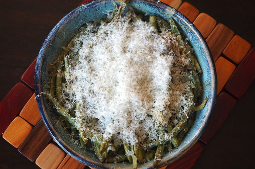 Simon Majumdar's Green Beans, Lemon and Capers topped with Grated Parmesan.