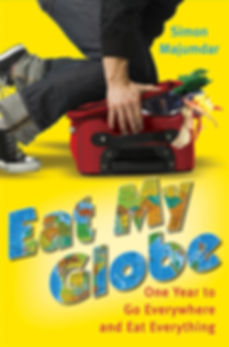 Eat My Globe (US Edition) by Simon Majumdar softcover of man trying to shut luggage filled with food