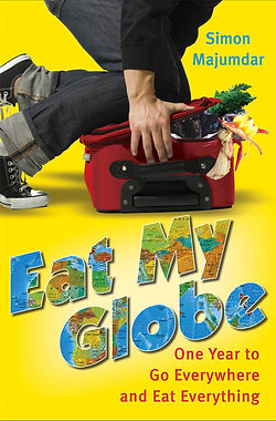 """Eat My Globe"" by Simon Majumdar bookcover man packing luggage filled with food"