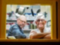 Alton Brown and Simon Majumdar on the set of Good Eats The Return