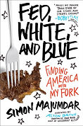 Simon Majumar's Fed, White, and Blue softcover with steak in shape of USA wth fork on it