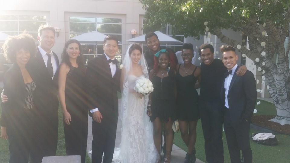 RAISE in guest attire, Kim wedding