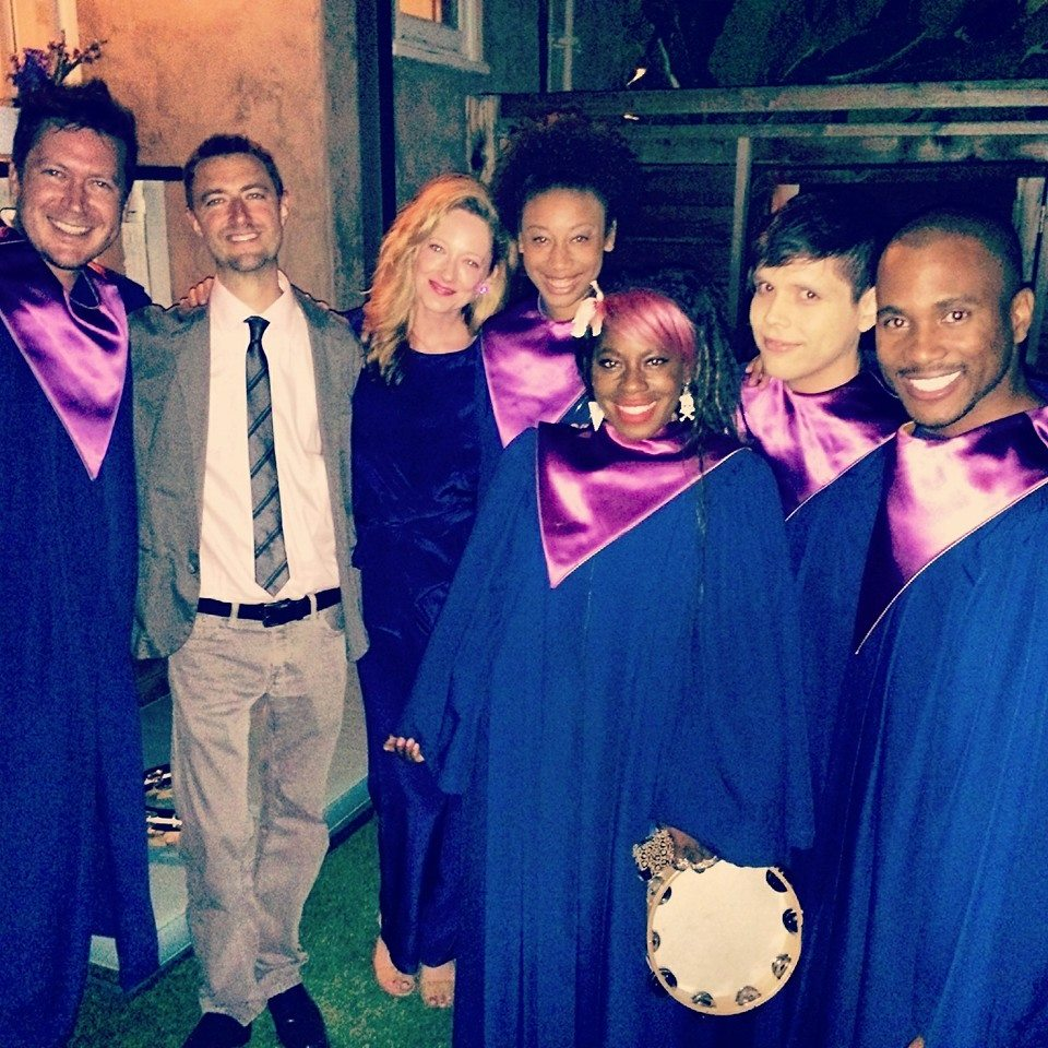 RAISE in blue robes with judy Greer
