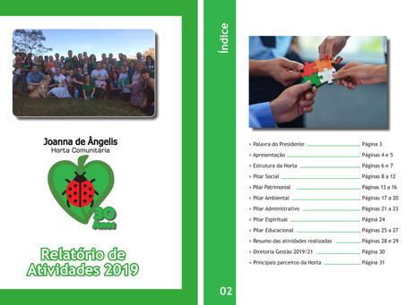 Horta Comunitária Joanna de Ângelis divulga Relatório de Atividades 2019