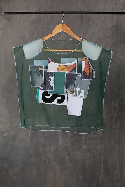 Transparent padded shoulders T-shirt with applique C2L04T02