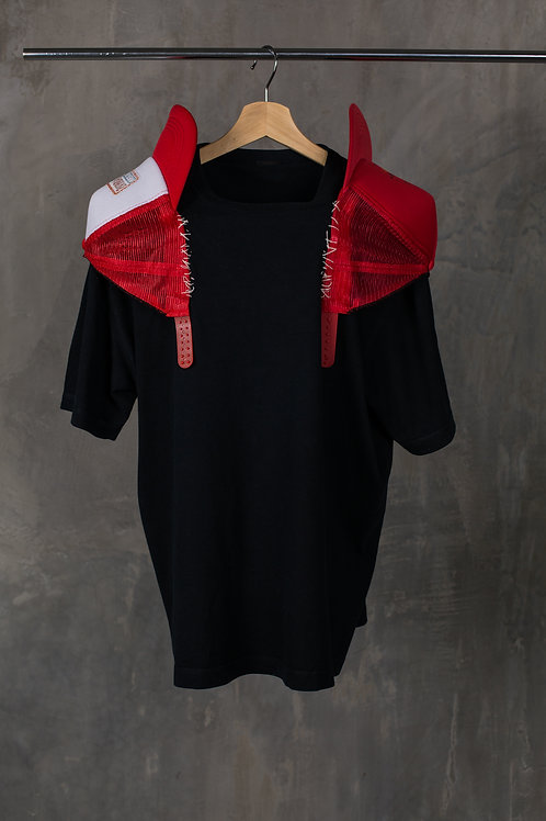 Reclaimed cap padded shoulders T-shirt C2L08T01