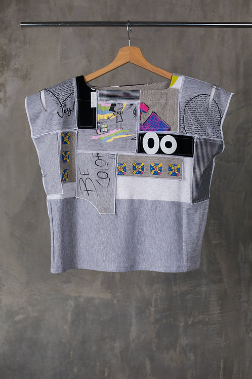 Patchwork applique padded shoulders T-shirt C2L03T01