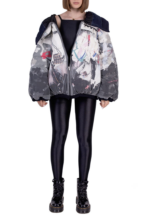 wasteart = statement two faces puffer jacket filled with debris C3L05T01