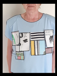 My mom wearing our top with applique