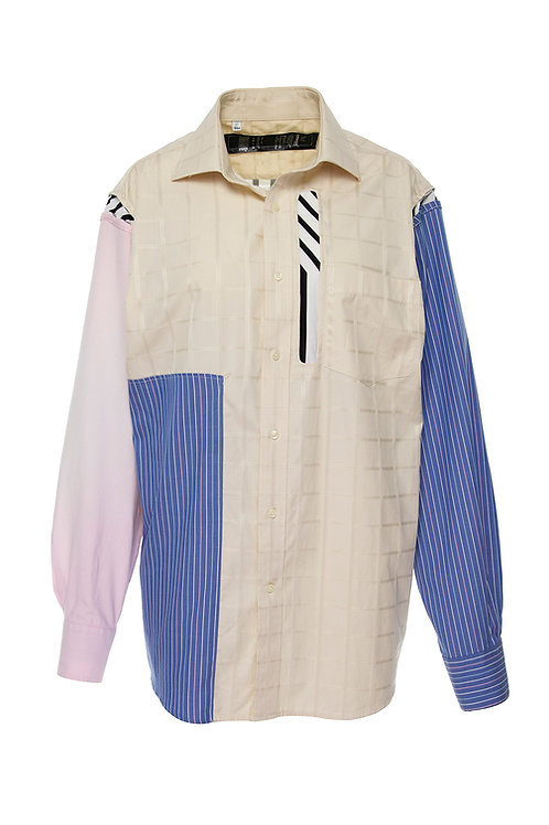 Paneled shirt - multi reclaimed