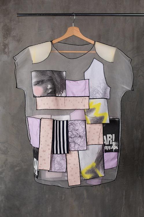 Transparent padded shoulders T-shirt dress with applique C2L07D01
