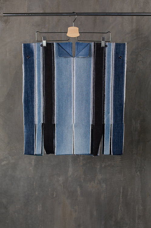 Reconstructed denim top with oversized shoulders C2L06T01