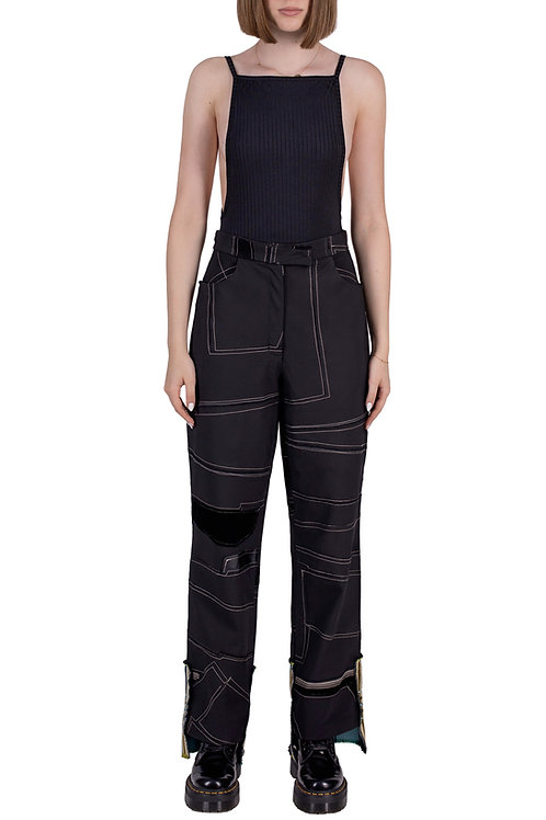 classic pants in black patchwork reconstructed fabric C3L04B01
