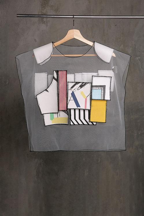 Transparent padded shouldersT-shirt with applique C2L04T18
