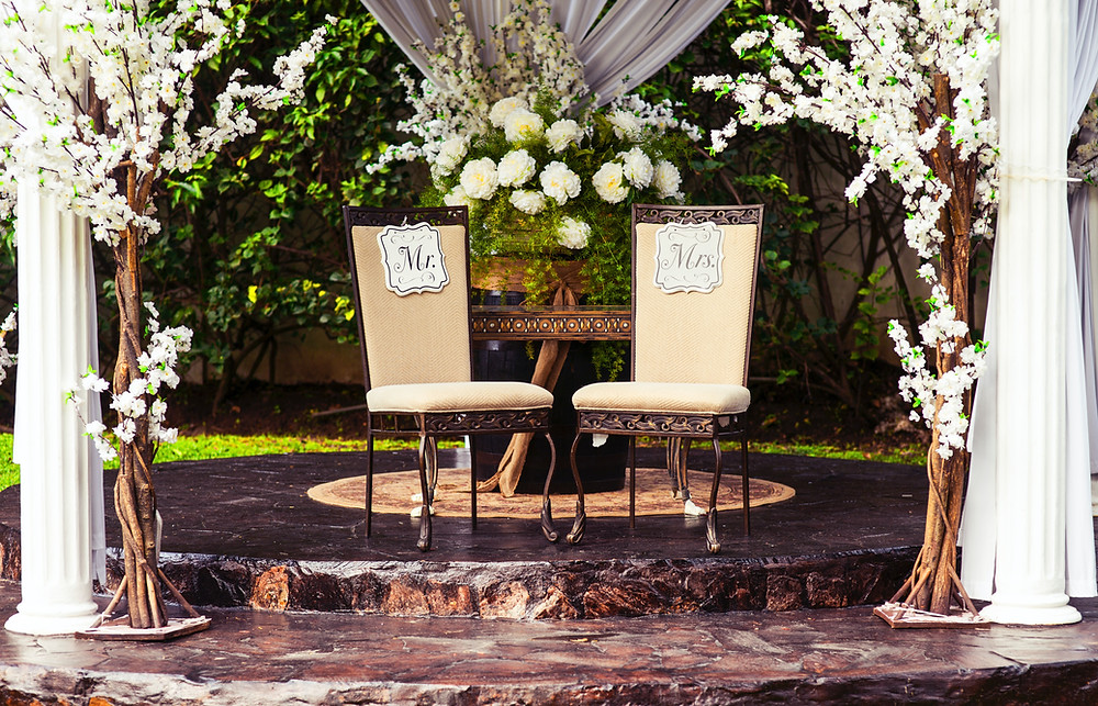 Wedding ceremony set up with chairs