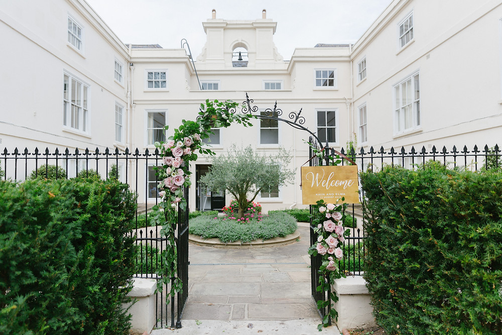 Picture of Morden Hall in London, front entrance with decorative garden