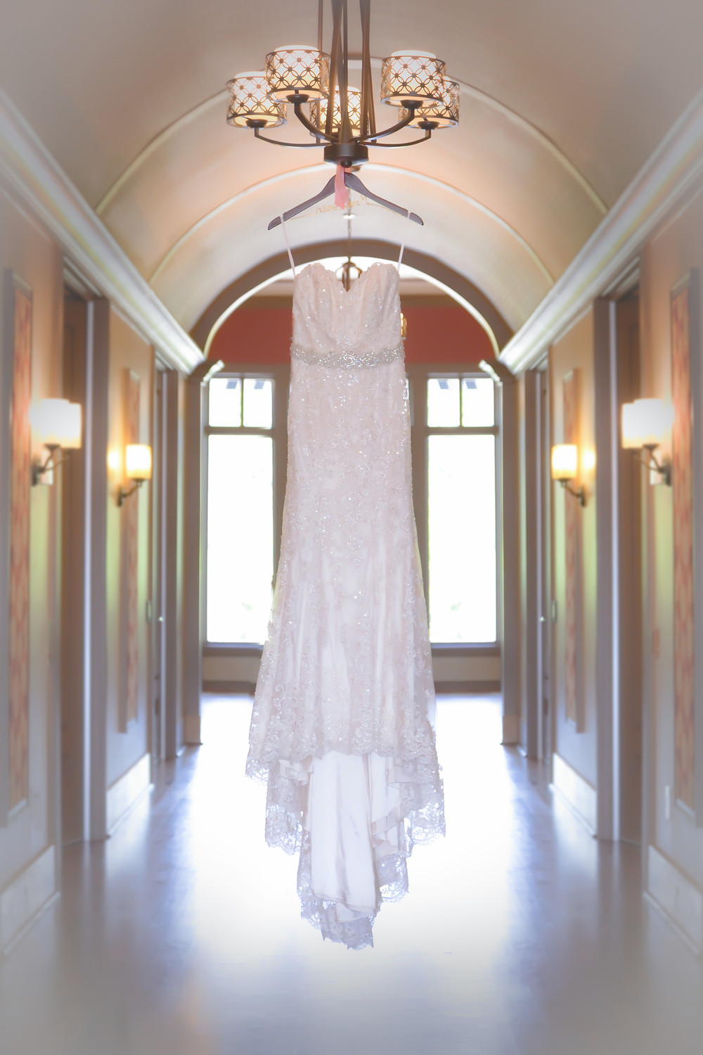 Hanging wedding dress